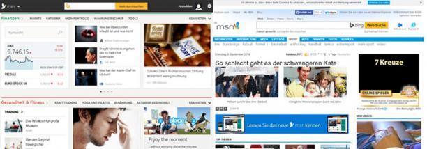 Design von msn.de 2012 (rechts) und 2014 (links) - Foto: Bildschirmfoto msn.de