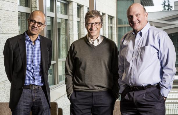 Die ersten drei Geschäftsführer in der Geschichte von Microsoft. v.l. Satya Nadella, Bill Gates und Steve Ballmer. - Foto: Microsoft Presse